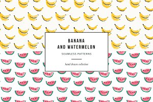 Banana and watermelon patterns