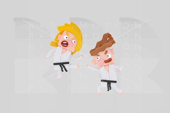 3d illustration. Karate Kids - Illustrations