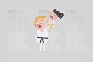 3d illustration. Karate teacher.