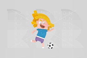 3d illustration. Football girl.