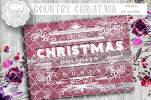 Vintage Country Christmas SVG files