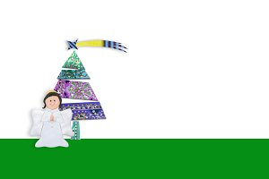 Angel and fir tree with blank space