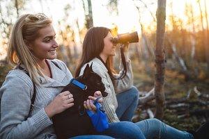 Friends on autumn hiking
