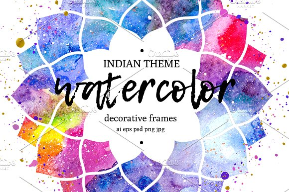 Watercolor frames. Indian theme. ~ Illustrations ~ Creative Market