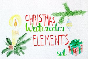 Watercolor christmas elements set