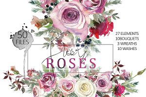 Frosty Roses Watercolor Flowers Set