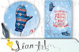 Greeting card with mitten