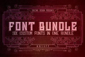 6 Custom Fonts in 1 Bundle - Bundle