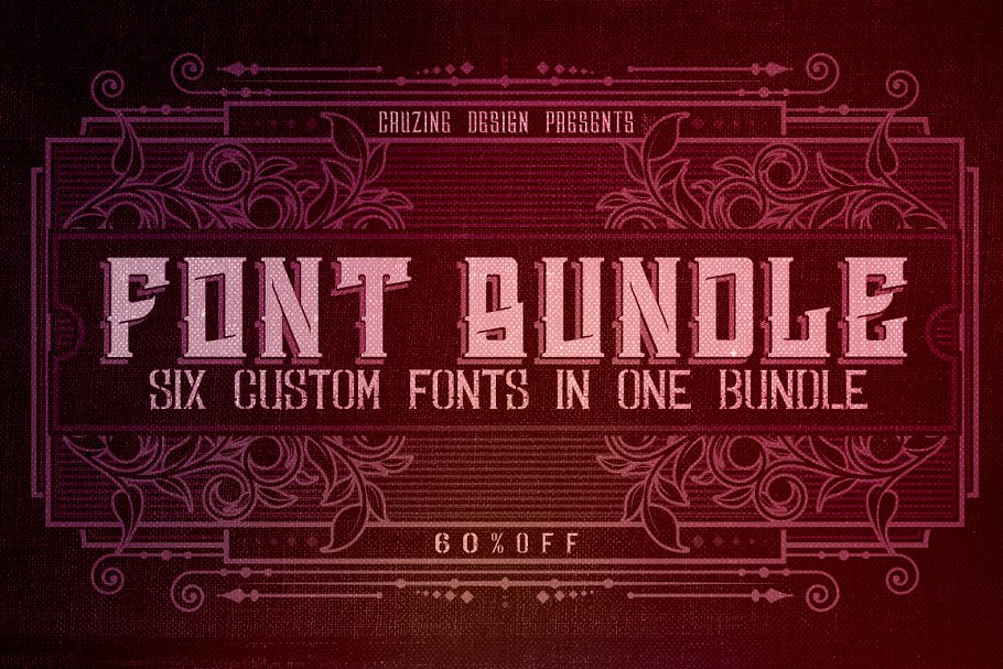 6 Custom Fonts in 1 Bundle - Bundle