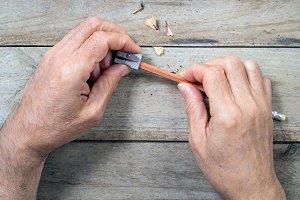 sharpening pencil