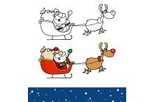 Reindeer And Flying Santa Claus