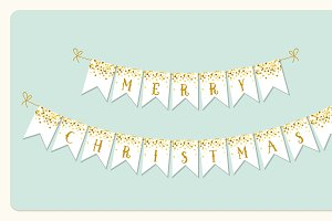 Festive winter holidays bunting