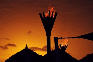 Sunset torches