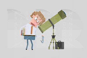 3d illustration. Astronomer.