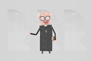 3d illustration. Priest.