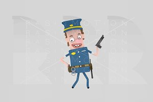 3d illustration. Policeman.