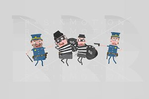 3d illustration. Police Officers.