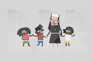 3d illustration. Nun with children.