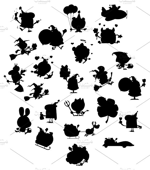 Cartoon Black Silhouettes