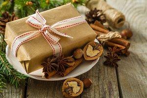 Christmas preasent nuts cinnamon ribbon