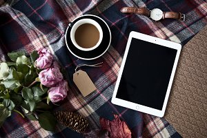 iPad with roses and coffee - photo