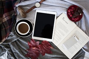 iPad with coffee and a book - photo
