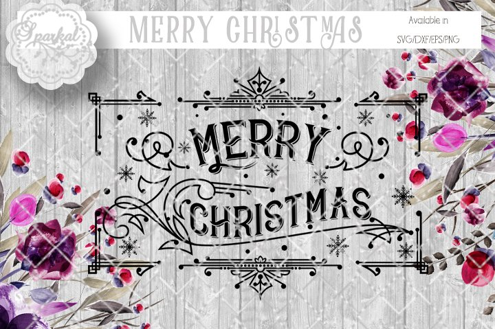 vintage merry christmas stencil illustrations creative market - Vintage Merry Christmas