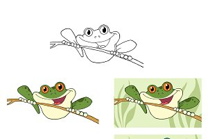 Happy Green Tree Frogs