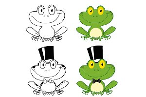 Cute Frogs Characters. Collection