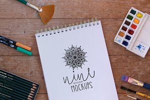 9 Natural Sketch Book Mockups