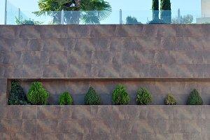 garden in architectural facade