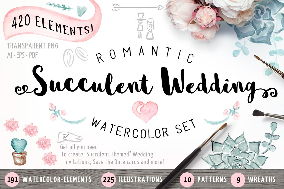 Succulent Wedding Watercolor Set Illustrations Creative Market
