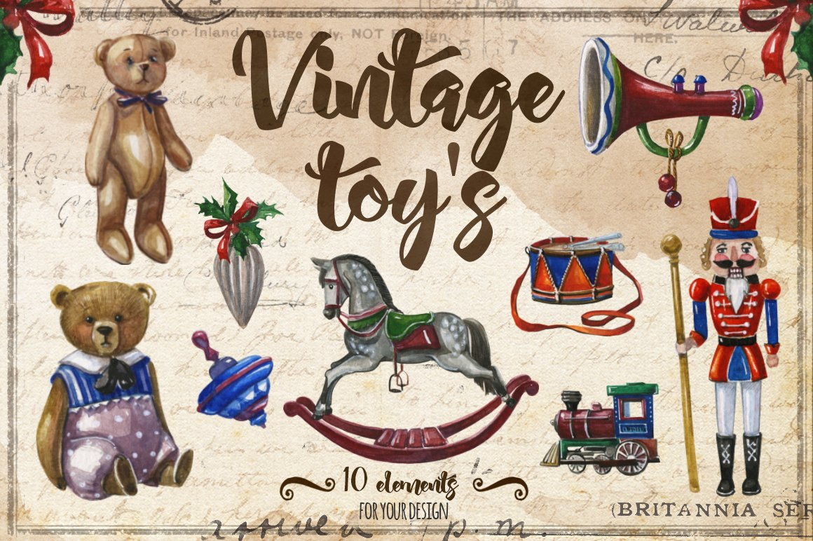 Retro Christmas Toy : Watercolor vintage christmas toys graphic objects
