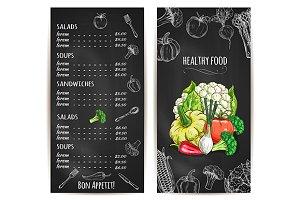 Vegetarian healthy food menu