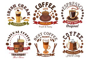 Coffee icons for cafe signboard