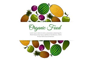 Organic food fruits banner