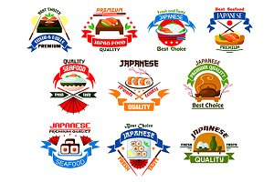 Japanese food and seafood icons
