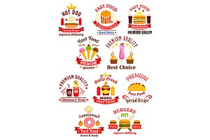 Fast food emblems and icons