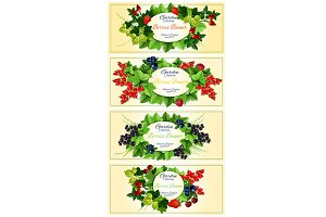 Garden berry fruits banners
