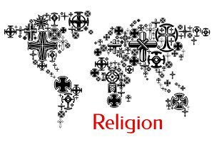Religion world map with crosses