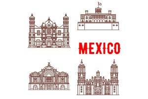Mexican architecture vector icons