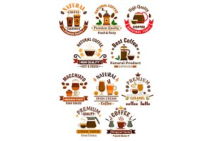 Coffee emblems set