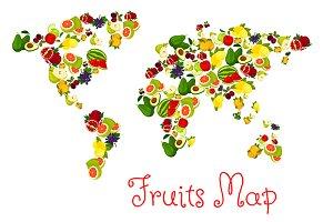 Fruits world map design