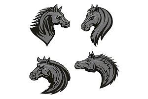 Horse head heraldic mascots