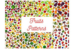 Patterns set of fruits and berries