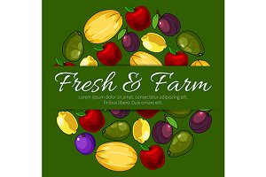 Poster with fresh farm fruits