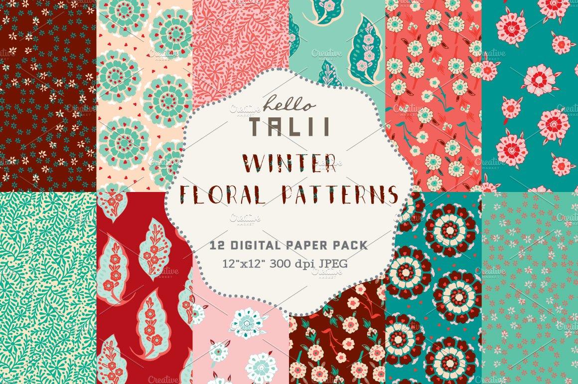 Winter Florals Digital Paper Pre Designed Photoshop Graphics Creative Market