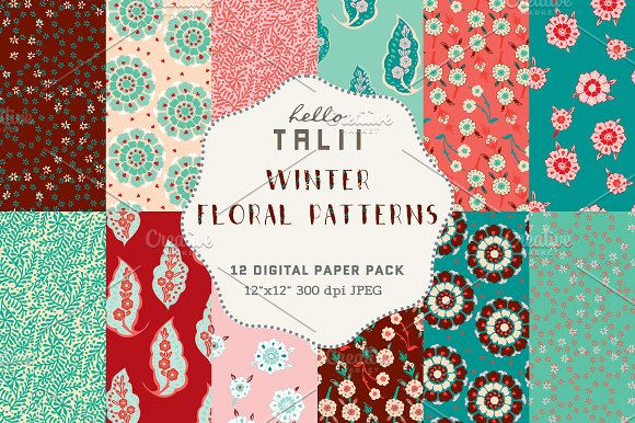 Winter Florals Digital Paper