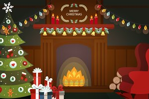 Christmas night fireplace