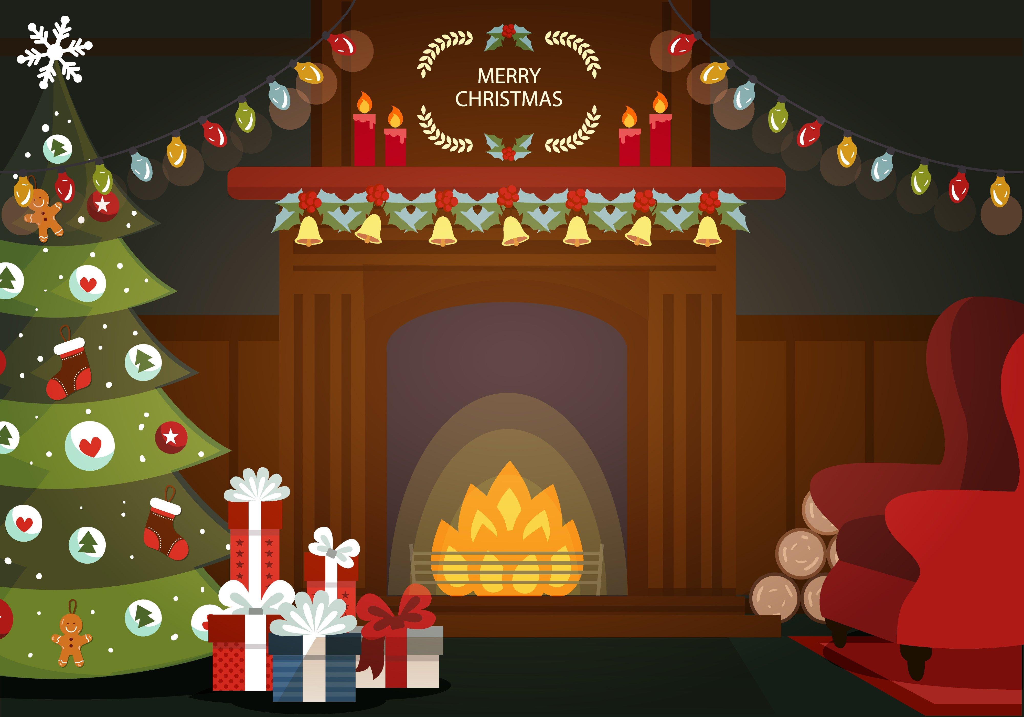 Christmas Fireplace Cartoon Family – Wonderful Image Gallery